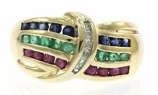 Ruby, Emerald and Blue Sapphire Ladies Ring with Diamonds in 10kt Yellow gold