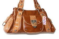 Damen celebrity Handtasche mit Schloss Padlock Kroco optik