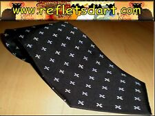 SILK TIE BLACK LIS FLOWERS PARIS  ROYAL MEDIEVAL FASHION FRANCE CORBATA SEDA