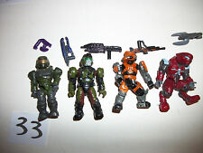 Mega Blocks Minifig Figure Halo Spartans Alien Space Soldier Lot x4 Xbox Toy #33