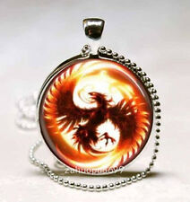 Vintage Phoenix Cabochon Silver plated Glass with Ball Chain Pendant Necklace