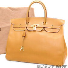 Authentic HERMES Birkin 40 Ardennes Natural Brown Gold Handbag w/dust bag France