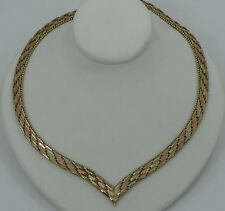 Gorgeous 14K Tri Color Gold Mesk Link Beaded Bordered 18.5 Inch V Necklace A460