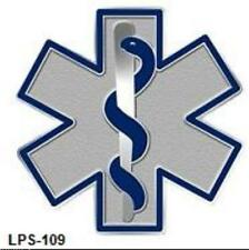 Blue Star of Life Lapel Pin EMT EMS  Cloisonne Insignia Silver Plated 109 New