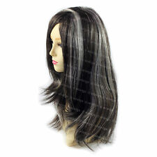 Beautiful Staright Black Brown & Grey Long Ladies Wig Skin top hair WIWIGS UK