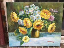 OIL Painting-BEAUTIFUL  Sunflowers and other Filler Flowers-20'X24  -Stretched