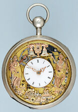 Silver Quarter Repeating French Automaton skeleton Pocket Watch(youtube Video)