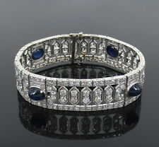 Antique Art Deco Old Mine Cut Diamond & 8.5ct Natural Sapphire Platinum Bracelet