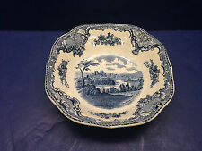 "SERVING BOWL 7"" Square Johnson Bros England Old Britain Castles Blue 1792"