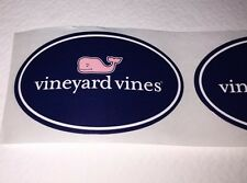 """Authentic Vineyard Vines Pink/Navy/ Oval Whale Stickers 2"""" X 1 1/8"""" Set Of 5"""