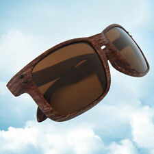 Mens Sports Sunglasses Wooden Square Frame Shades Outdoor Eyewear Brown SY