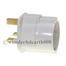 Schuko/Germany/France/South Korea to UK Adapter BS1363 Fused Power Plug White