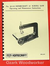 "HOMECRAFT/DELTA  40-110 16"" Scroll Saw Parts Manual 0363"