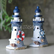 New Nautical Decor Wooden Lighthouse/Light Tower Starfish Shells Red Lifebouy