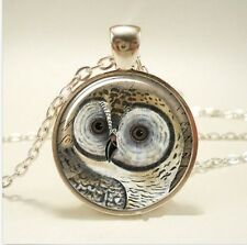 Vintage OWL Cabochon Tibetan Silver Glass Chain Pendant Necklace Jewelry