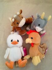 4 NEW Precious Moments Country Lane Tender Tails Goat Cow Duck Rooster retired