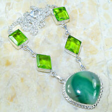 """BOTSWANA AGATE+PERIDOT NECKLACE 19"""" 925 STAMPED STERLING SILVER. GORGEOUS STONES"""