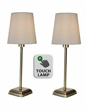 Pair of Classic Antique Brass Touch Lamps Bedside Lights w/ Ivory Fabric Shades