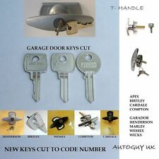 TWO GARAGE DOOR KEYS CUT TO CODE  APEX BIRTLEY  HENDERSON  MARLEY  WESSEX