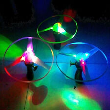 Frisbees Boomerangs Flying Saucer Plastic Clover Spin LED Light Outdoor Toy