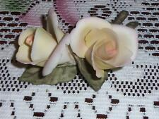 """CAPODIMONTE ITALY HAND MADE ROSES ORIGINAL STICKER CROWN """"N"""""""