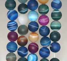 8MM PARTY MIXED AGATE GEMSTONE RAINBOW STRIPED MATTE ROUND 8MM LOOSE BEADS 15""