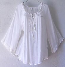 NEW~SPENSE~White Ivory Crochet Lace Peasant Blouse Shirt Boho Top~4/6/2/S/Small
