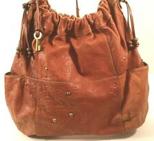 Vtg Cognac Brown Leather FOSSIL Bucket Hobo Shoulder LG Bag Purse Brass Key Fob