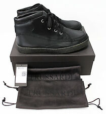 $578 TRUSSARDI Mixed-Media Black Leather Woven-Tex Sneakers Boots 43-EU 10-US