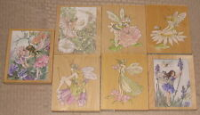 lot 7 STAMPS HAPPEN INC wood mounted rubber FLOWER FAIRIES NEW! Sweet Pea Daisy+