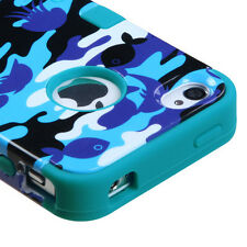 for iPhone 4 4G Aquatic Camo Teal Blue Dual Armor Hard & Soft Rubber Hybrid Case