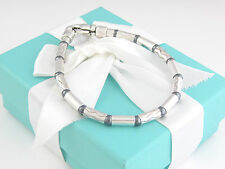 Rare Tiffany & Co Silver Hematite Carved Bead Bracelet Box Included