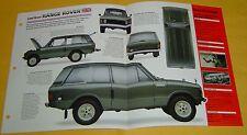 1970 Land Rover Range Rover V8 3528cc 2 Zenith Carbs IMP Info/Specs/photo 15x9