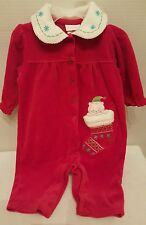 Baby Infant 0-3 Month Jumpsuit Romper Velvet Red Christmas Holiday with Kitten