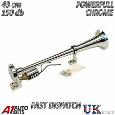 "12V 24V Super Loud 17"" Chrome Single Trumpet Air Horn Truck Man Scania Volvo Daf"