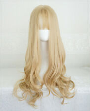Long Curly Fluffy Blond Korea Style Sweet Cute Air Bangs Full Wig+Free Wig Cap