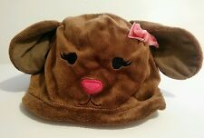 New Gymboree Bunny Rabbit Face & Ears Pink Brown Soft Minky Velour Hat 2T to 5T