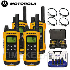 Motorola TLKR T80 Extreme Rugged All Weather Two Way Radios Throat Mics Quad PK
