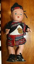 "Vintage Highland Laddie with Kilt 13"" Reliable Toy Co - 1920's or 30's - has tag"