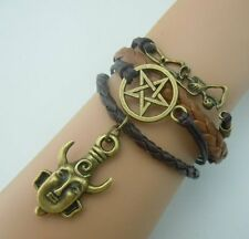 Supernatural Deans Protection Amulet Leather Charm Bracelet UK SELLER!