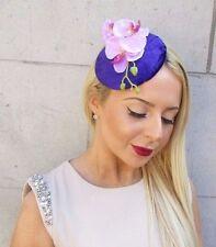 Purple Lilac Velvet Orchid Flower Fascinator Hat Races Headpiece Hair Clip 2505