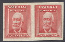Liberia 1909, 30c Barclay, IMPERF color trial proof pair in rose  #122