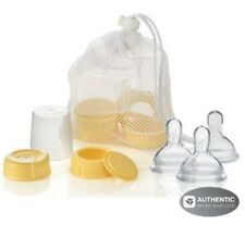 MEDELA Breastmilk Bottle Spare Parts with 3 Medium-flow wide base Nipples NEW!