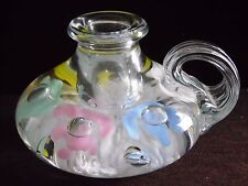 Pretty Gibson Glass Spring Pastel Floral Paperweight Candle Holder Hand Made