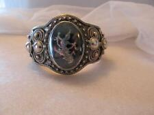 """Vintage~Antique Siam Wide Cuff Sterling Silver Bracelet 1 1/2"""" Tall"""