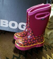 BOGS Sweet Pea classic maroon/pink 71438-652 handle rubber boots youth us 11
