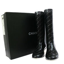 Auth CHANEL CC Logos Shoes Rain Boots Black White Rubber Italy Vintage V08977