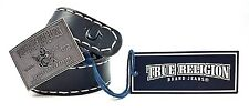 True Religion Mens Stitched Leather Buddha Buckle Belt Black 28 NWT! $128 msrp