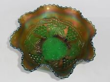 FENTON CARNIVAL GLASS GREEN GRAPE AND CABLE SPATULA FOOT RUFFLED BOWL