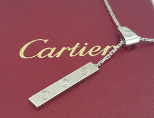0.06 ct Cartier 18K White Gold Diamond Sliding Love Bar Lariat Necklace 18""